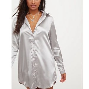 Grey satin button front dress Pretty Little Thing
